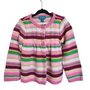 CHILDREN'S PLACE Pink & White Striped Cardigan 3T